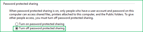 Radio button to change to allow password-less share folder access.